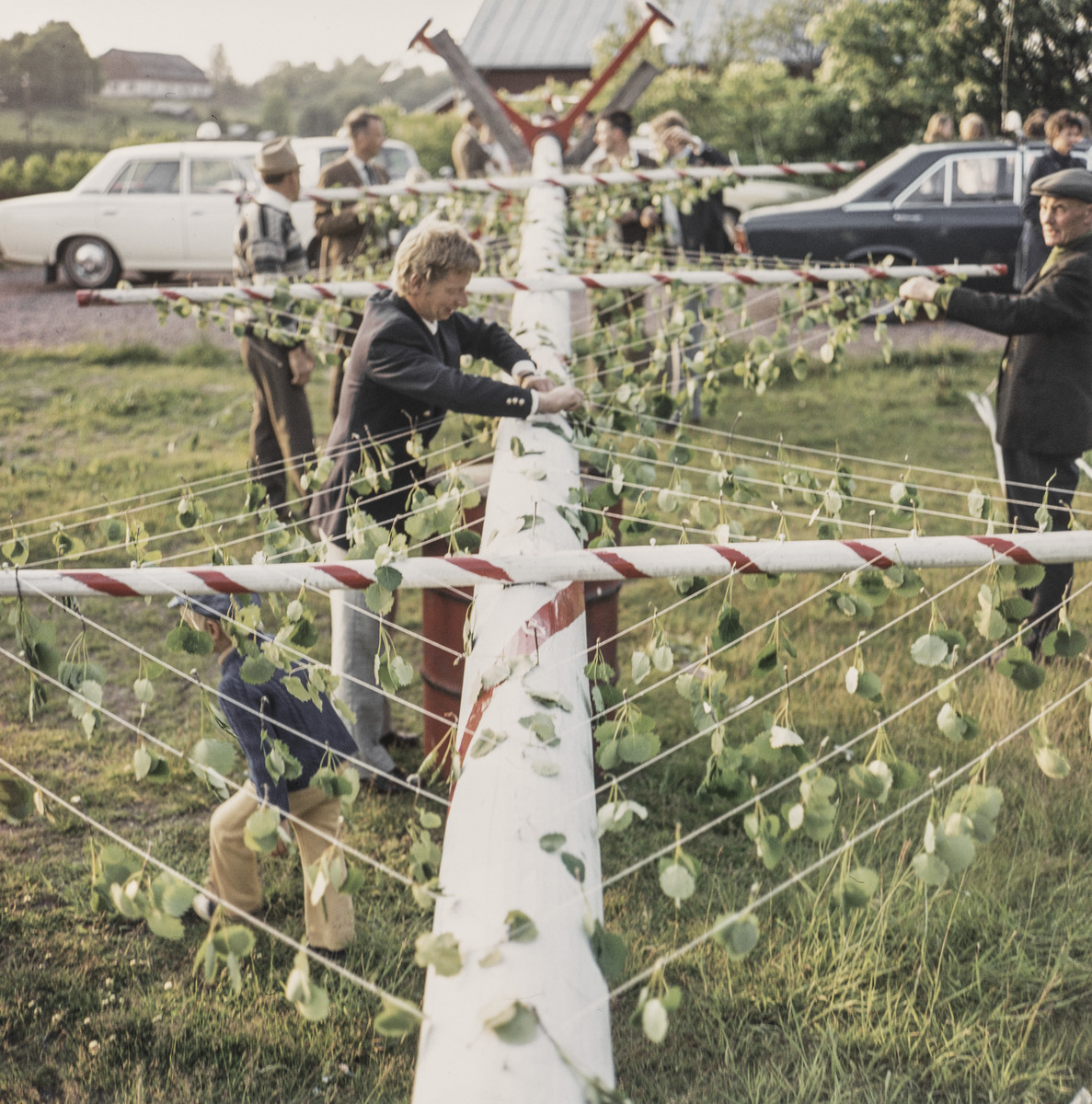 Dressing the Midsummer pole in Godby in 1971.