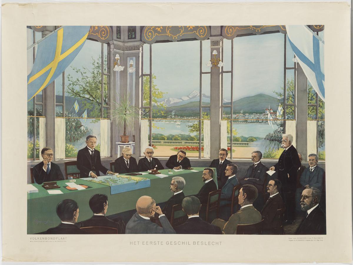 Ahvenanmaan kysymyksen käsittely Kansainliitossa 27.6.1921. Kuva F Rackwitz, (julkaisussa Daamens). Museovirasto.