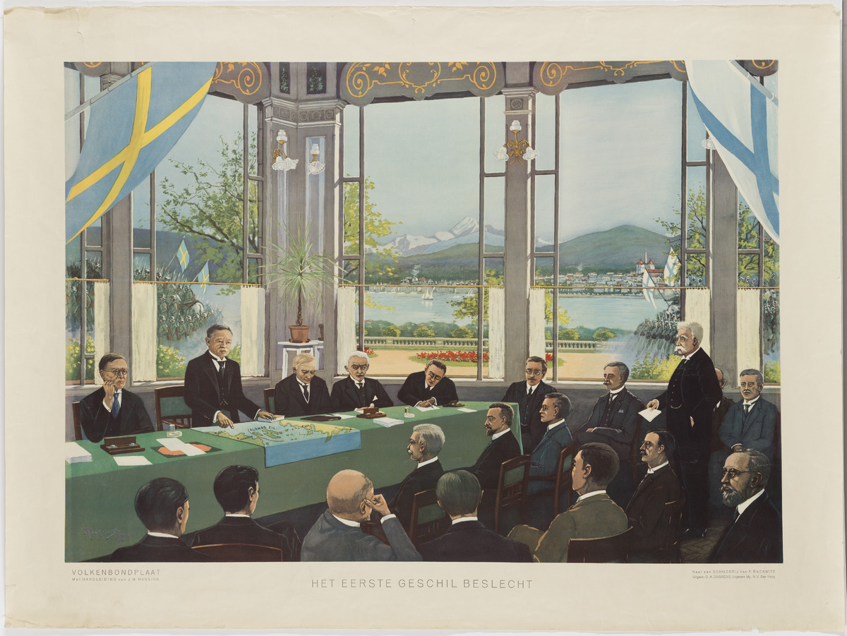 Nationernas Förbund behandlar Ålandsfrågan 27.6.1921. Foto F Rackwitz (i en publikation av Daamens). Museiverket.