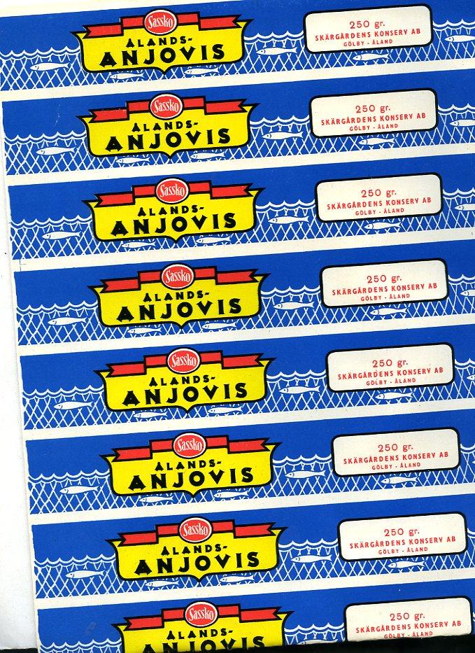 Etiketter för inlagd åländsk ansjovis.